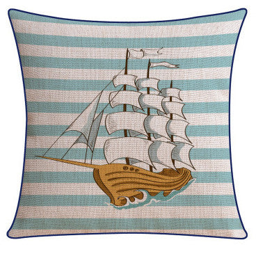 Nautical Ship Pillow Cover