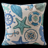 Nautical Starfish Compass Pillow Cover