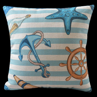 Nautical Anchor Ship Wheel Pillow Cover