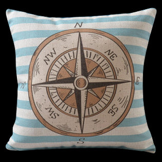 Nautical Compass Stripped Pillow Cover Sealife Gifts