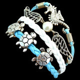Blue White Sea Turtle and Seahorse Bracelet