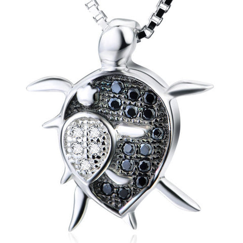 Baby and Mother Sea Turtle Silver and Crystal Pendant Necklace