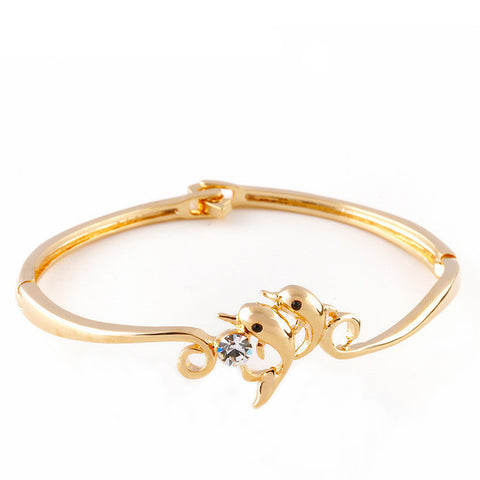 Double Dolphin Rhodium or Gold Bracelet