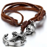 Anchor Skull Leather Necklace