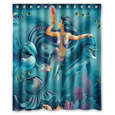 Dolphin Mermaid Reef Shower Curtain