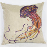 Jelly Fish Linen Pillow Cover