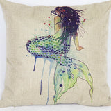 Mermaid Linen Pillow Cover