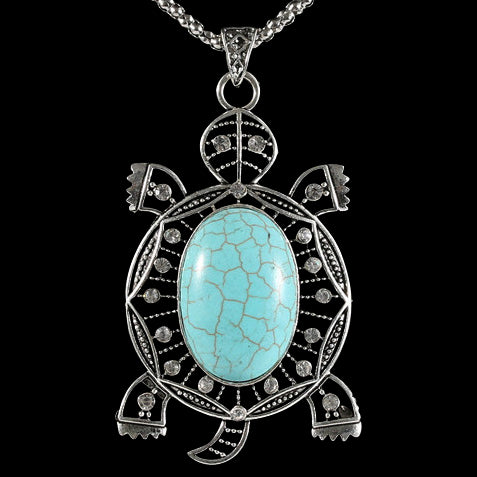 Turquoise Turtle Pendant w/ Necklace