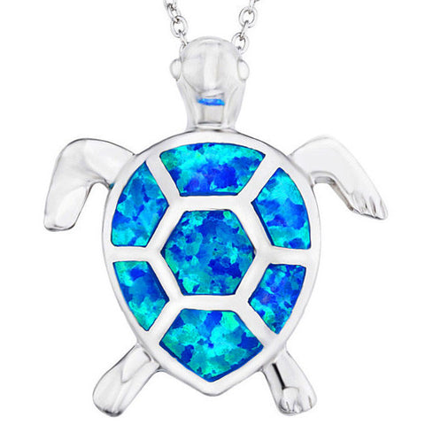 Blue Opal Silver Turtle Pendant w/ Necklace