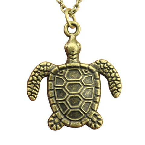 Vintage Antique Bronze Sea Turtle Necklace