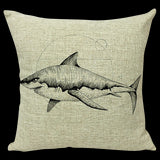 Shark Design Natural Pillow Cover