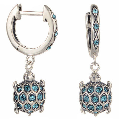 Blue Turtle Sterling Silver and Crystal Earrings