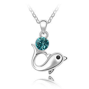 Dolphin Silver and Crystal Pendant w/ Necklace
