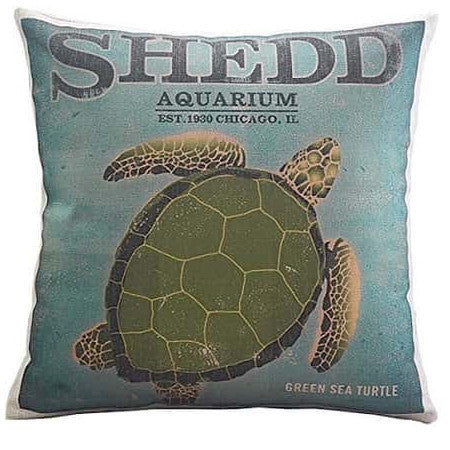 Vintage Sea Turtle Throw Pillow