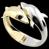 Double Dolphin Bangle Bracelet