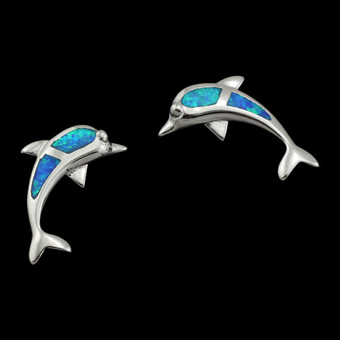 Dolphin Blue Opal and Silver Earrings