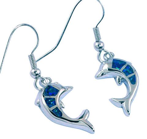 Dolphin Three-Stone Silver Earrings