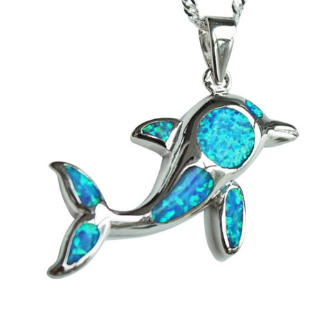 Jumping Dolphin Opal Stone Pendant w/ Necklace