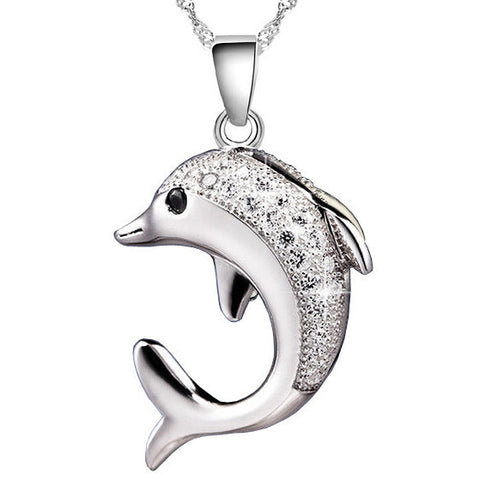 Silver and crystal dolphin pendant necklace sealifefts silver and crystal dolphin pendant necklace aloadofball Gallery