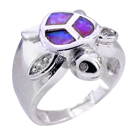 Purple Sea turtle Rhodium and Opal Stone Ring