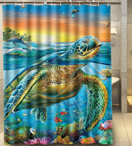 Sea Turtle Sunset Shower Curtain