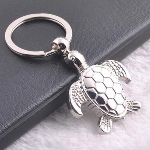 Sea Turtle Silver Keychain