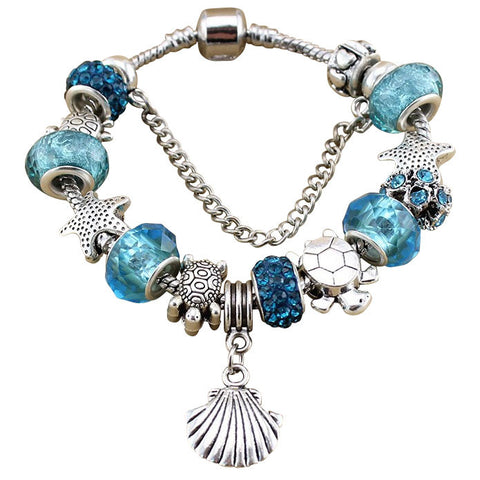 Blue Turtle Starfish Crystal Bracelet w/ Charms