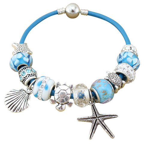 Blue Turtle Starfish Pandora Bracelet w/ Beads and Charms
