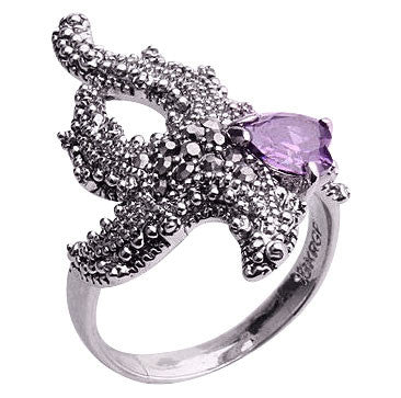Starfish Rhodium Ring with Purple Cubic Zirconia