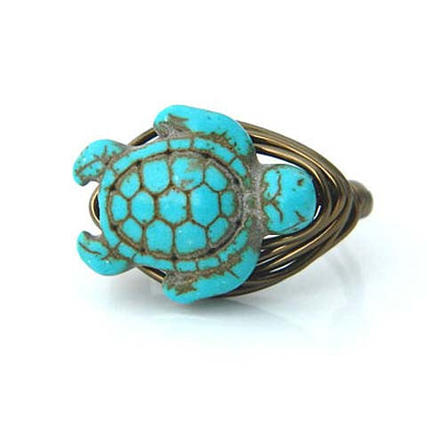Turquoise Wire Wrap Turtle Ring
