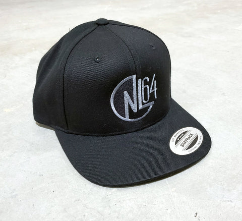 B 0001c NL64 Nic Long FanWear Hat - Black Black/Grey Logo