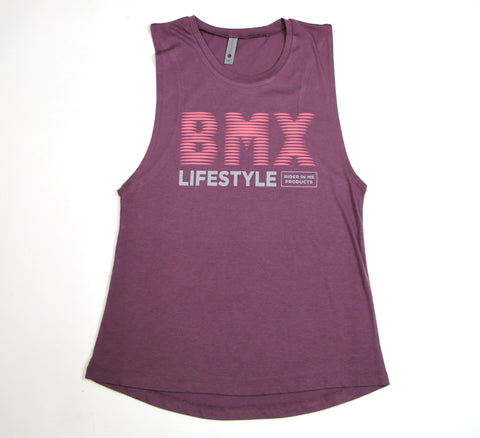 RIM (Rider In Me Products) Women's Muscle Tank BMX LIFESTYLE Shiraz/Coral/Grey