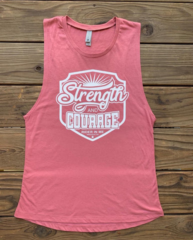 RIM (Rider In Me Products) Women's Muscle Tank STRENGTH AND COURAGE  Shiraz/White