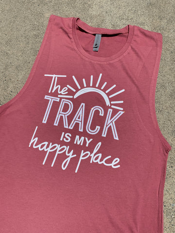 "New RIM (Rider In Me Products) Women's Tank Top ""Track is my happy place"""