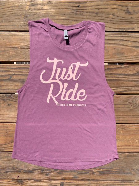 RIM (Rider In Me Products) Women's Muscle Tank JUST RIDE Shiraz/Blush