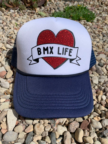 RIM Navy White Valucap Foam Trucker Hat with Red/Black BMX LIFE Bling Logo