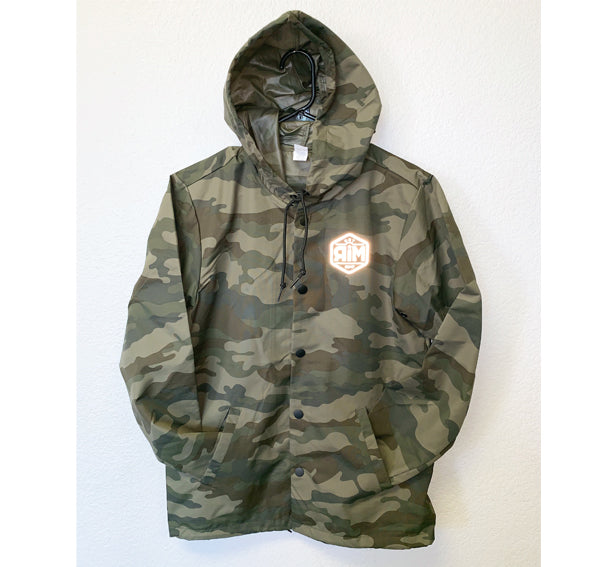 Z 0044 RIM WATERPROOF BUTTON UP JACKET - FOREST CAMO