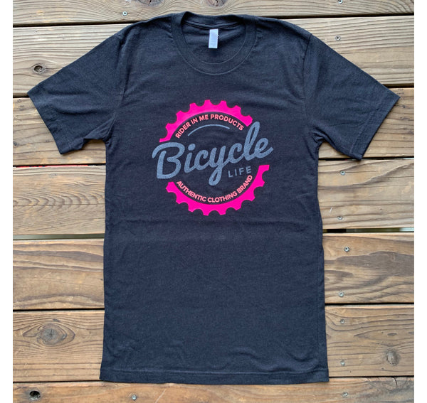 New RIM (Rider In Me Products) Unisex Tee - Black/Neon Pink,Sparkly See Through