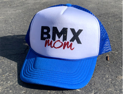 RIM Blue White Valucap Foam Trucker Hat with Sparkly Black/Red  BMX MOM logo