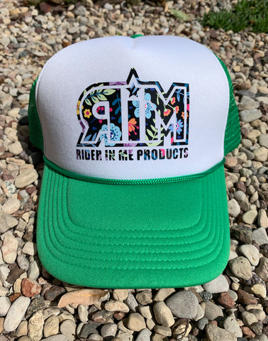 RIM Green White Valucap Foam Trucker Hat with Flowery RIM Logo Design