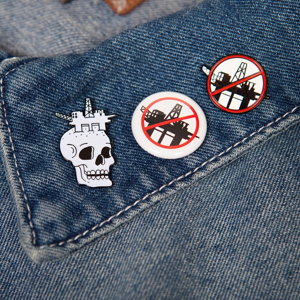 #DrillingIsKilling Oil Rig Enamel Pin