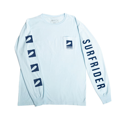 Logo Long Sleeve Pocket T-Shirt (Light Blue)