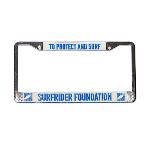 To Protect and Surf Chrome License Plate Frame