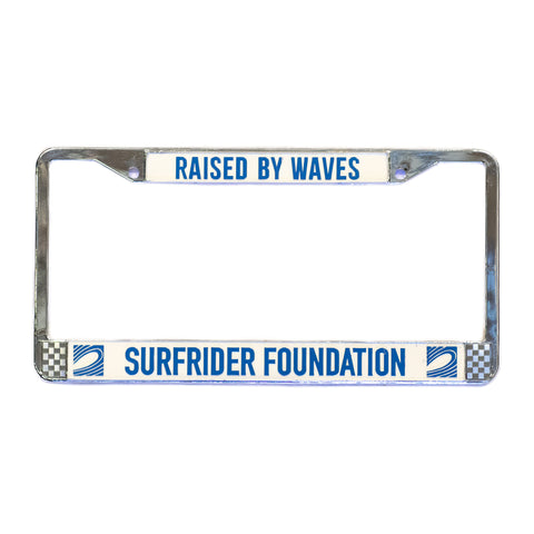 Raised By Waves Chrome License Plate Frame