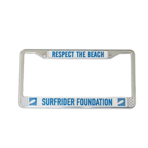 Respect The Beach Chrome License Plate Frame