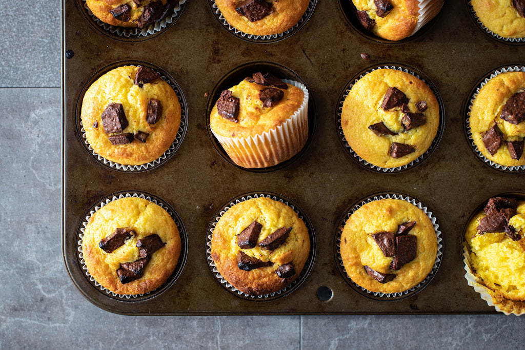 Orange Chocolate Chip Muffins with Chocolate Ganache