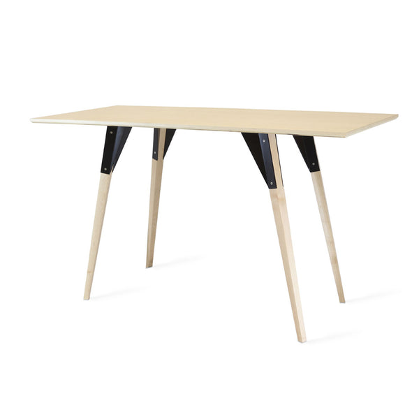 Clarke No Drawer Thin Rectangle Desk - Maple
