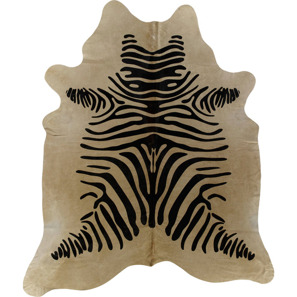 Cowhide Rug - Black On Beige Zebra