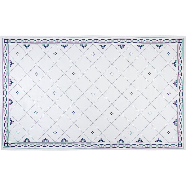 Anfa Blue and White Linen Tablecloth