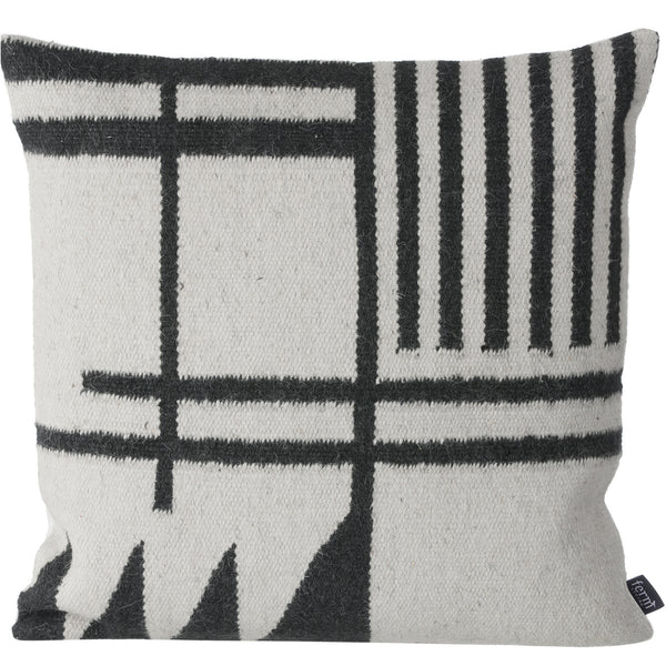Kelim Black Lines Pillow - Wool & Cotton